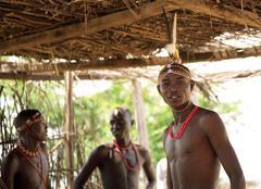 Young warriors in the samburu village Stock Photos
