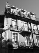 Black and White, building Baixa, Lisbon - stock photo