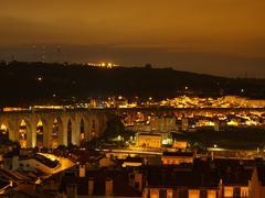 Aqueduct in gold, Lisbon Stock Photos