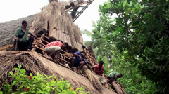 The Workers cover the roof bungalows braid of palm leaves. Stock Footage