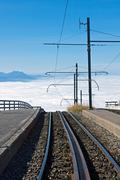 Railway over the clouds - stock photo