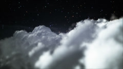 Stock Video Footage of Flying through clouds at night. Black starry sky. Loopable.