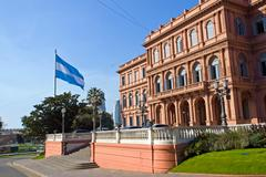 Casa Rosada and flag in Argentina Stock Photos