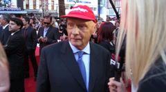 F1 Legend Niki Lauder at the London premiere of the film Rush. - stock footage
