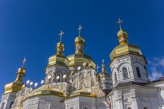 domes of the cathedral in the kiev pechersk lavra - stock photo