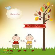 Happy twins Stock Illustration