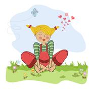 romantic girl sitting barefoot in the grass - stock illustration