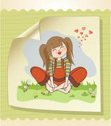 Stock Illustration of romantic girl sitting barefoot in the grass