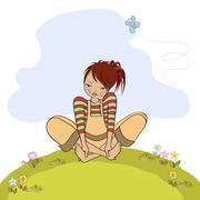 Romantic girl sitting barefoot in the grass Stock Illustration