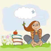 Studious girl sitting barefoot in the grass Stock Illustration