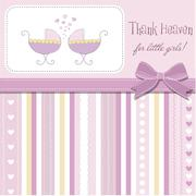 Delicate baby twins announcement card Stock Illustration
