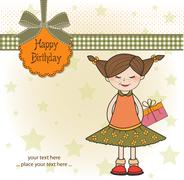 Excited young girl she hide a special gift Stock Illustration