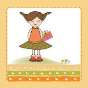 excited young girl she hide a special gift - stock illustration
