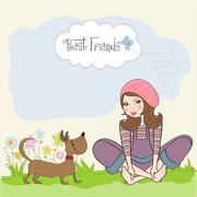 romantic girl sitting barefoot in the grass with her cute dog - stock illustration