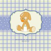 baby shower card with puppy - stock illustration