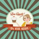 Stock Illustration of retro wife illustration with bon appetit message