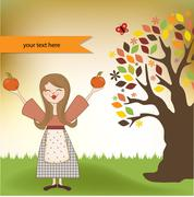 Autumn girl with apples and pumpkins Stock Illustration
