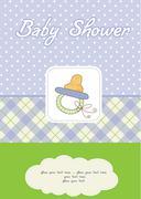 new baby boy shower card - stock illustration