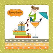 attractive young girl sitting on the edge of a glass. glamorous birthday card - stock illustration