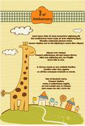 customizable cute background with little giraffe - stock illustration