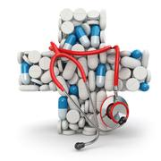 Concept of medicine. cross from drugs and stethoscope. Stock Illustration