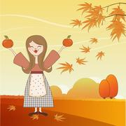 autumn girl with apples and pumpkins - stock illustration