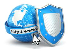 Internet security. earth, browser address line and shield. Stock Illustration