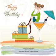 Attractive young girl sitting on the edge of a glass. glamorous birthday card Stock Illustration