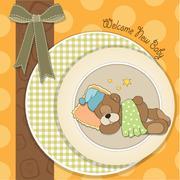 Baby shower card with sleeping teddy bear Stock Illustration