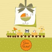 baby shower card with cute stroller - stock illustration