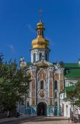 entrance gate of the pechersk lavra in kiev - stock photo