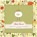 Stock Illustration of new baby announcement card with chicken