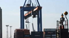 Container Terminal time lapse Stock Footage