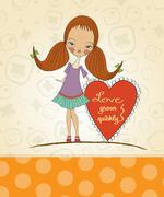 pretty young girl in love - stock illustration