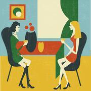 Stock Illustration of retro gossip girls
