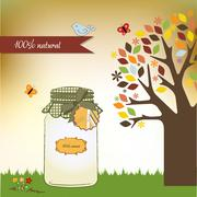 pure biological food jar - stock illustration