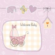Baby girl shower card with stroller Stock Illustration