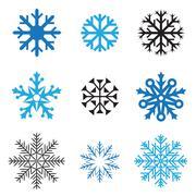 different snowflakes - stock illustration