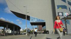 Spain Catalonia Barcelona Design Museum DHUB at Av Diagonal Stock Footage