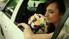 bride in the car 1 - stock footage