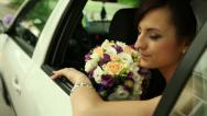 Stock Video Footage of bride in the car 1
