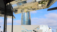 Spain Catalonia Barcelona Tower Torre Agbar Flea market Mercat dels Encants Stock Footage