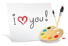 Valentine card of the artist Stock Illustration