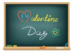 Drawing valentine day by a chalk Stock Illustration