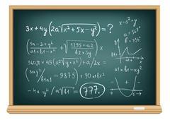 board difficult equations - stock illustration