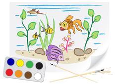 drawing aquarium - stock illustration