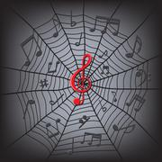 Music notes in the spider web Stock Illustration