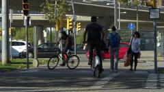 Stock Video Footage of Spain Catalonia Barcelona Av Diagonal Traffic pedestrian cross-walk tram tour