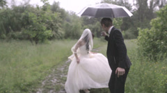 wedding in the rain - stock footage