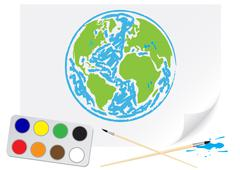 Drawing green Earth - stock illustration
